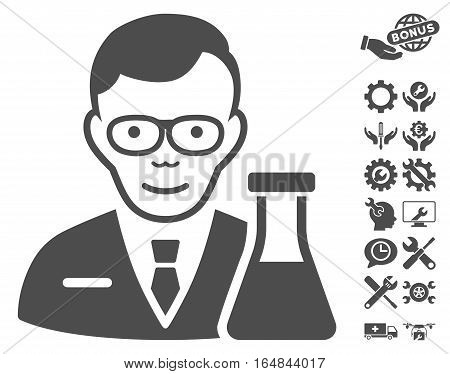 Chemist pictograph with bonus settings graphic icons. Vector illustration style is flat iconic gray symbols on white background.