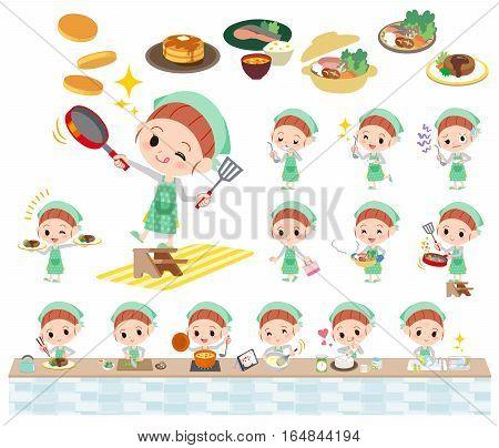 Polka Dot Clothes Ribbon Girl Cooking