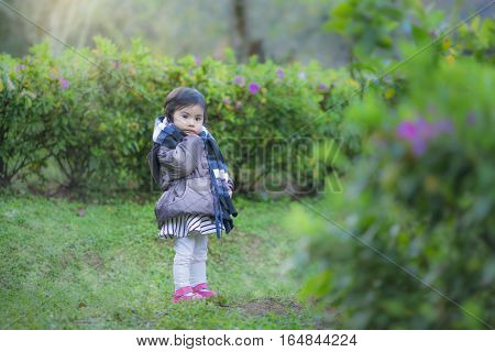 Little Toddler In Garden