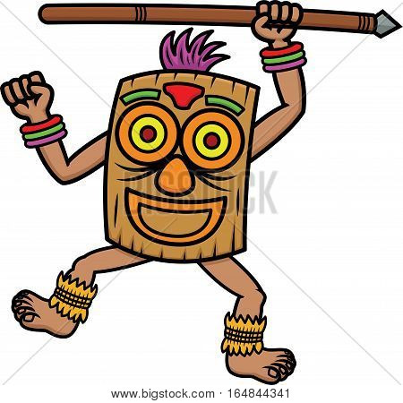 Tribal Warrior with Mask and Spear Cartoon