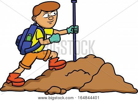 Young Traveler Walking on Boulders Cartoon Illustration