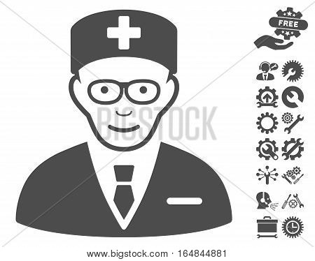 Head Physician icon with bonus service images. Vector illustration style is flat iconic gray symbols on white background.