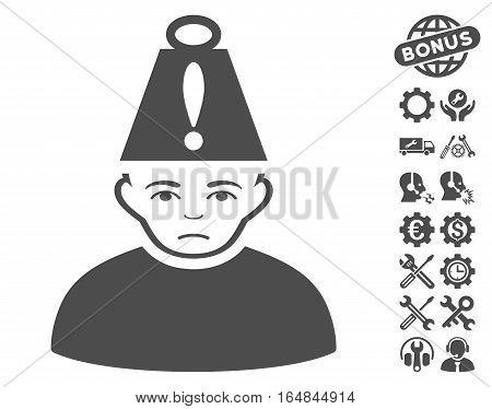 Head Stress icon with bonus setup tools icon set. Vector illustration style is flat iconic gray symbols on white background.