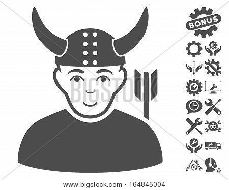 Horned Warrior icon with bonus configuration images. Vector illustration style is flat iconic gray symbols on white background.