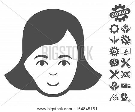 Lady Face icon with bonus setup tools pictures. Vector illustration style is flat iconic gray symbols on white background.