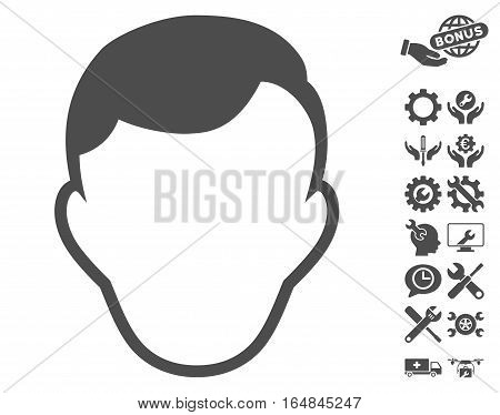 Man Face Template icon with bonus setup tools clip art. Vector illustration style is flat iconic gray symbols on white background.