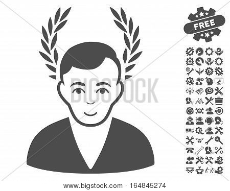 Man Glory icon with bonus configuration pictures. Vector illustration style is flat iconic gray symbols on white background.