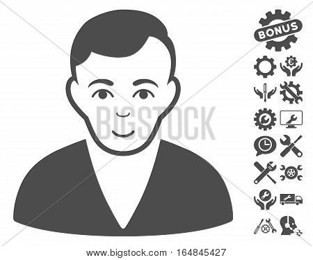 Man pictograph with bonus configuration images. Vector illustration style is flat iconic gray symbols on white background.