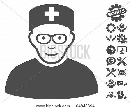 Medical Specialist icon with bonus tools clip art. Vector illustration style is flat iconic gray symbols on white background.