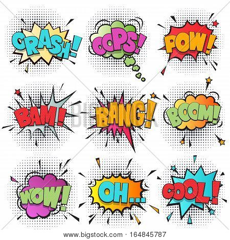 Comic speech bubble cartoon set isolated on white background vector illustration. Sound effects: pow, oh, boom, bang, wow, bam, cool, crash, oops. Comic sound speech bubble in pop art style collection