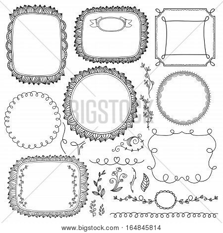 Vintage hand made frame set isolated vector illustration. Retro collection of page divider, border, frame, doodle. Floral, scroll, laurel page decorative design for albums, menu, brochures and labels. Hand drawn frame ad floral divider and border.