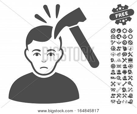 Murder With Hammer icon with bonus options images. Vector illustration style is flat iconic gray symbols on white background.