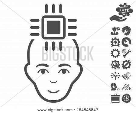 Neural Computer Interface icon with bonus options symbols. Vector illustration style is flat iconic gray symbols on white background.