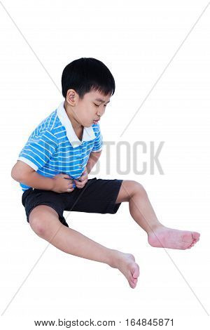 Asian Child Suffering From Stomachache Pain. Isolated On White Background.