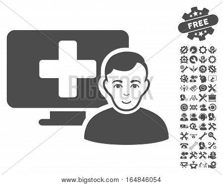 Online Medicine pictograph with bonus settings icon set. Vector illustration style is flat iconic gray symbols on white background.