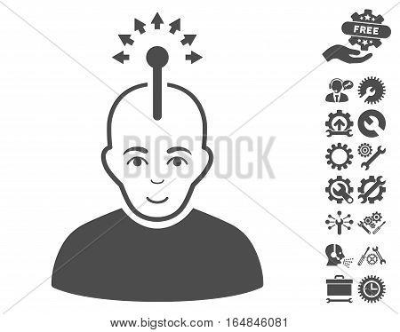 Optical Neural Interface icon with bonus options design elements. Vector illustration style is flat iconic gray symbols on white background.