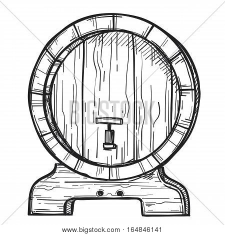 Wooden barrel freehand pencil drawing isolated on white background vector illustration. Round wooden barrel with tap on stand sketch in vintage style. Alcohol, wine, beer or whiskey old wood keg. Hand drawn wooden barrel. Wine or beer barrel