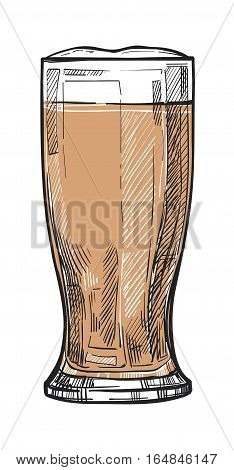 Glass of beer freehand pencil drawing isolated on white vector illustration. Time to beer concept, oktoberfest festival sketch in vintage style. Full beer glass icon for bar, pub or restaurant menu.