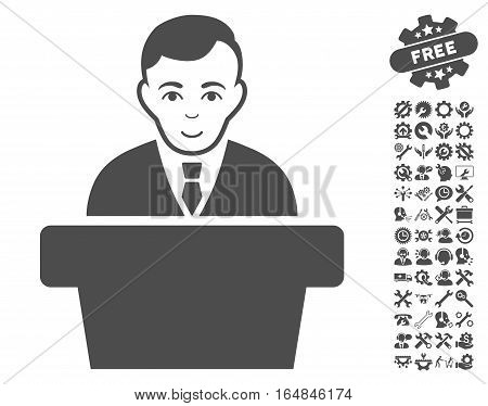 Politician icon with bonus service clip art. Vector illustration style is flat iconic gray symbols on white background.
