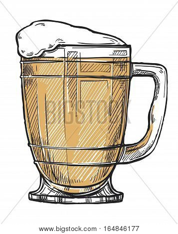 Beer glass freehand pencil drawing on white vector. Time to beer concept, oktoberfest festival sketch in vintage style. Full beer glass icon for bar, pub or restaurant menu.  Hand drawn beer glass illustration. Isolated vector beer glass or beer mug.