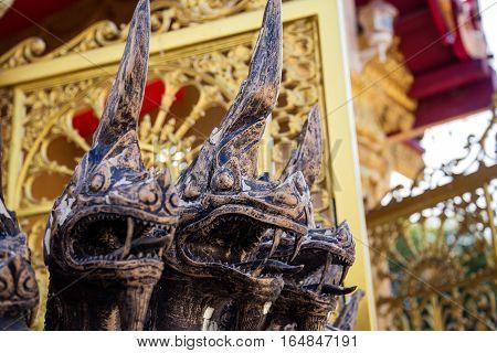 Closeup Naga statue in Plublic Temple Thailand.