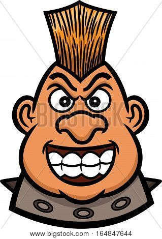Mohawk Warrior Head Cartoon Figure for Band Leader Bikers or Riders Community