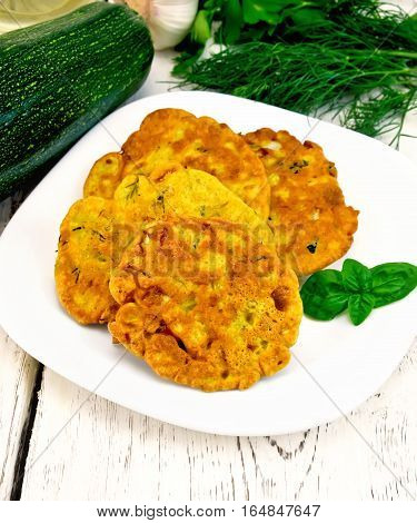 Flapjack Chickpeas With Zucchini In Plate On Light Board