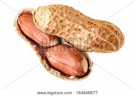 Open Peanut On White