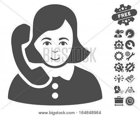 Receptionist pictograph with bonus configuration pictograph collection. Vector illustration style is flat iconic gray symbols on white background.
