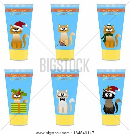 High quality original trendy vector set with Baby cream tube with kids design and cat illustration