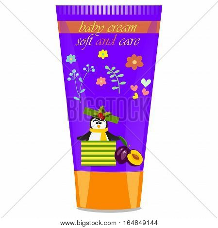 High quality original trendy vector Baby cream tube with kids design and pinguin, plum illustration