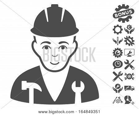 Serviceman icon with bonus tools design elements. Vector illustration style is flat iconic gray symbols on white background.