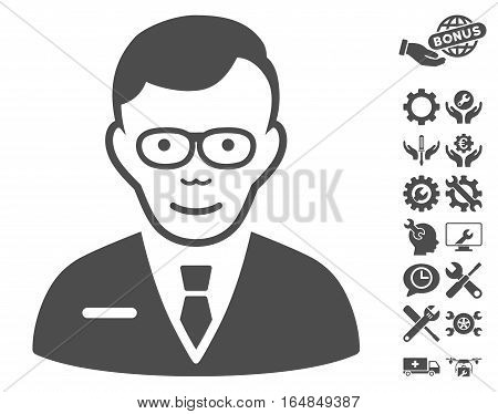 Specialist pictograph with bonus setup tools pictures. Vector illustration style is flat iconic gray symbols on white background.