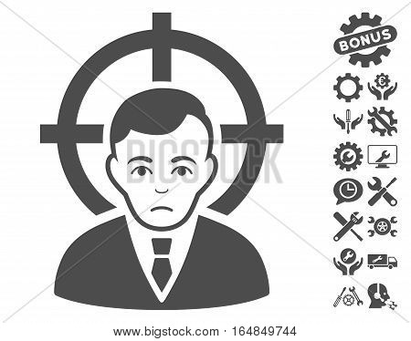 Victim Businessman pictograph with bonus tools symbols. Vector illustration style is flat iconic gray symbols on white background.