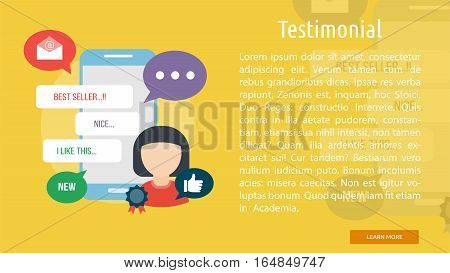 Testimonial Conceptual Banner | Great flat illustration concept icon and use for business, people, marketing, working, idea, event and much more.