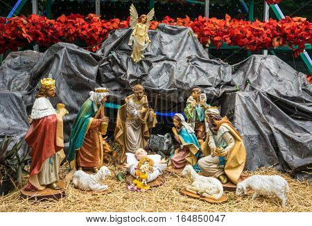 Christmas Nativity scene on the christmas eve