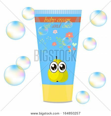 High quality original trendy vector Baby cream tube with kids design and pear on floral background illustration