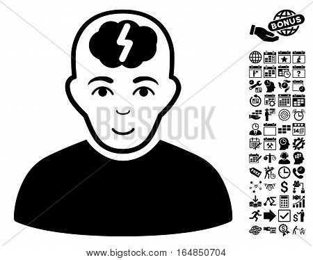 Clever Boy pictograph with bonus business time management and calendar clip art. Vector illustration style is flat iconic symbols black color white background.