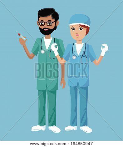 nurse man and woman work clinic heatlh vector illustration eps 10