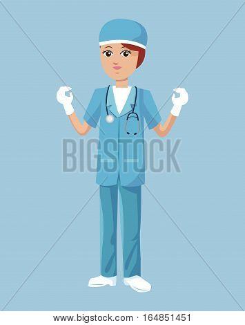 woman surgeon uniform hat stethoscope latex gloves vector illustration eps 10