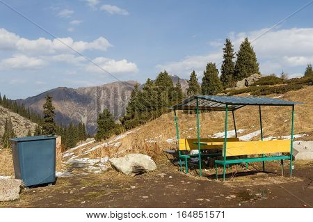 Wheelie Bin With A Gazebo In The Mountains