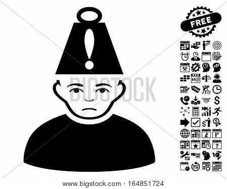 Head Stress pictograph with bonus business time management and calendar icon set. Vector illustration style is flat iconic symbols black color white background.