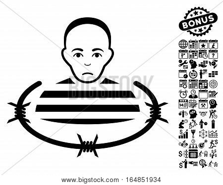 Isolated Prisoner pictograph with bonus business time management and calendar pictograms. Vector illustration style is flat iconic symbols black color white background.