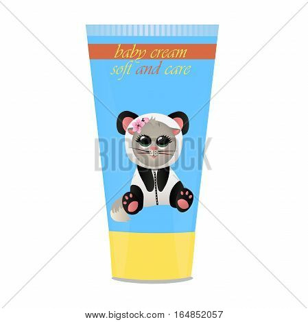 High quality original trendy vector Baby cream tube with kids design and cat in panda suit illustration