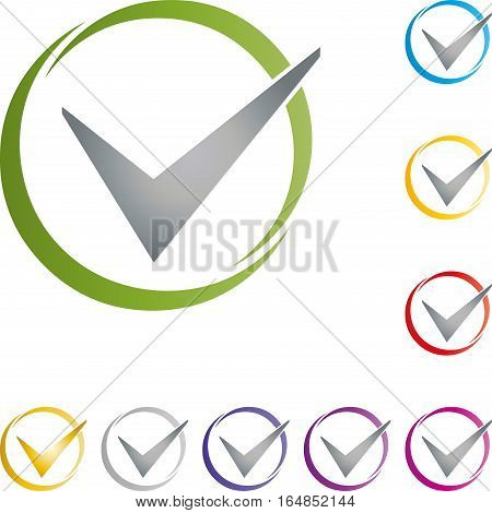 Check mark and circle, colored, checkmark button and sign
