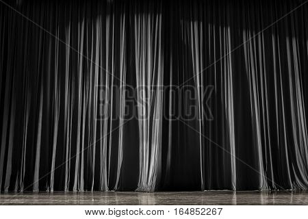 Black And White Curtains And Stage.