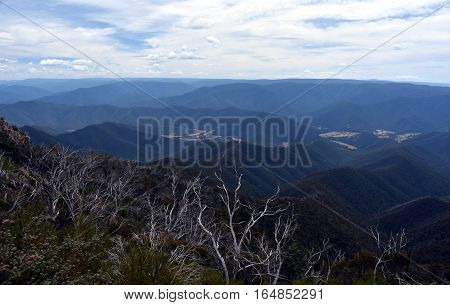 Broad panorama of the Victorian High Country via Billy Goat Bluff Track. Billy Goat Bluff is a four-wheel drive track.