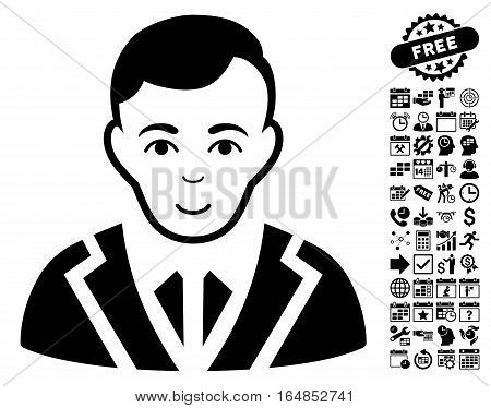 Noble pictograph with bonus business time management and calendar graphic icons. Vector illustration style is flat iconic symbols black color white background.