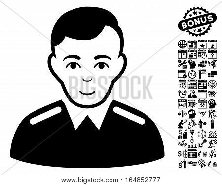 Officer icon with bonus business time management and calendar clip art. Vector illustration style is flat iconic symbols black color white background.