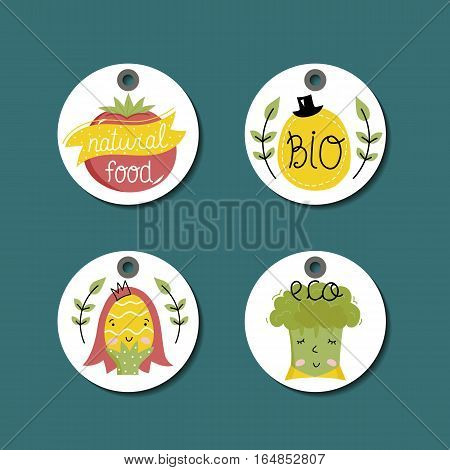 Eco and bio food round labels set isolated on blue background. Natural farm products price tags for organic foods shop, vegan cafe, restaurant, eco bar. Healthy eating concept. Eco friendly products